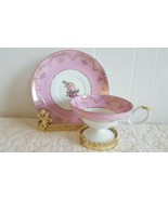 Beautiful Vintage Floral Pink bone china tea cup and saucer made in Japa... - $17.99