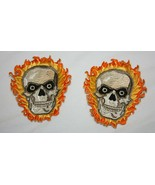 Pair of SKULL FIRE Patches – Size Small – NEW - $9.89