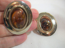 BIG Oval Faux Marbled AMBER Cab Pale Gold Plate Clip Earrings Vintage Es... - $13.85