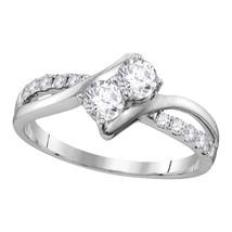 10kt White Gold Round Diamond 2-stone Bridal Wedding Engagement Ring 1/2... - $854.00