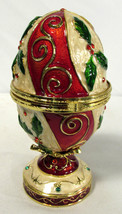 """Music Box Faberge Like Egg Style Enamel & Holly """"We Wish You A Merry Chr... - $29.69"""