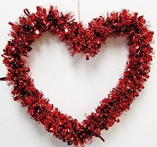 Valentine's Day Red Heart Shape Tinsel Garland Wreath Door Hanger Wall D... - $5.99