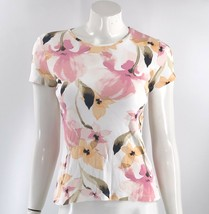 Croft & Barrow Top Size XS White Pink Peach Floral Fitted Short Sleeve T... - $7.92