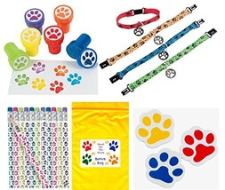 Paw Print Birthday Party Favor Bundle Pack Animal Lover (12 Stampers, 12... - £21.50 GBP