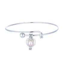 Cage Pendant Bangle Bracelets With With Oyster Pearl- 1 x Random design image 4