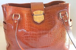 Liz Claiborne Large Satchel Style Purse with small purse Brown Faux Alligator - $45.77