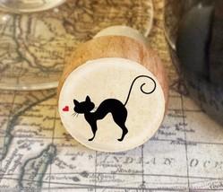 Wine Stopper, Silhouette Cat Handmade Wood Bottle Stopper, Cat Gift Style 3 - $8.86