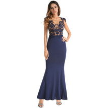 AOVEI Lake Blue Lace Bodycon Wrap Backless Cocktail Party Long Maxi Dress - $29.99