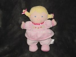 Prestige Stuffed Plush Cloth Baby Girl Doll Pink Dress Rose Flower Braid... - $24.74