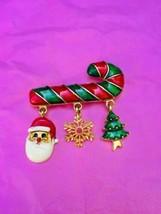 Candy Cane Chistmas Brooch Pin With Dangles Santa Snowflake Tree Enamel ... - $9.75