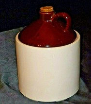 Cream /Brown color Cookie Jar with lid and a cork AA20-2396 Vintage