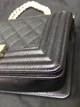 NEW 100% AUTHENTIC CHANEL 2017 BLACK QUILTED CAVIAR SMALL BOY FLAP BAG GHW image 6