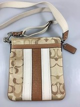 Coach Tan Signature Fabric Leather Crossbody Shoulder Bag Handbag Canvas... - $47.53