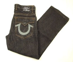True Religion Brand Jeans Black Denim W38 L33 Buttonfly Leather Horsesho... - $79.99