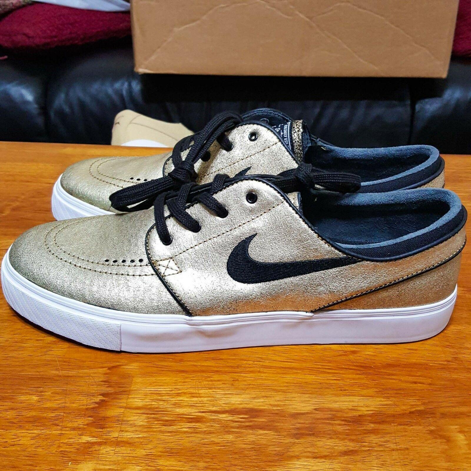 new concept a3275 21fd4 Nike Sb Zoom Stefan Janoski L pelle Oro 616490-702 USA 11.5, Eu 45.5