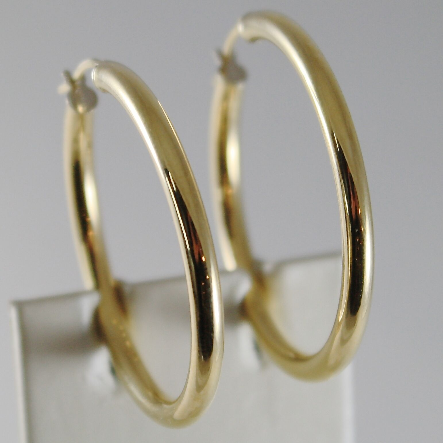 18K YELLOW GOLD EARRINGS BIG CIRCLE HOOP 35 MM 1.38 INCH DIAMETER MADE IN ITALY