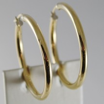18K YELLOW GOLD EARRINGS BIG CIRCLE HOOP 35 MM 1.38 INCH DIAMETER MADE IN ITALY image 1