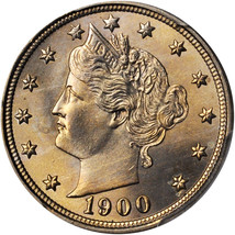 1900 Liberty Head Nickel - PCGS MS-66  - Mint State 66 - V Nickel image 1
