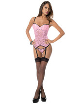 LACE BUSTIER CORSET UNDERWIRE CUPS WITH MATCHING THONG & THIGH HIGHS S-L - $24.99