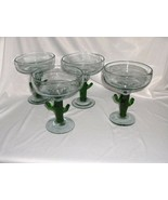 4 vintage Art Glass Margarita Clear Crystal Large Green Cactus Stems - $64.35
