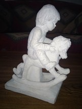 1985 Austin Productions Bright Eyes Dee Crowley Sculpture Boy on Rocking... - $15.83