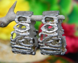 Vintage Brutalist Modernist Sterling 925 Earrings Half Hoop Open Work - $49.95
