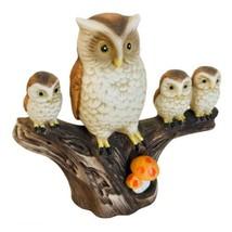 Vintage 70's Mother Owl & 3 Owlets on a Branch Orange Mushrooms Ceramic ... - $16.99