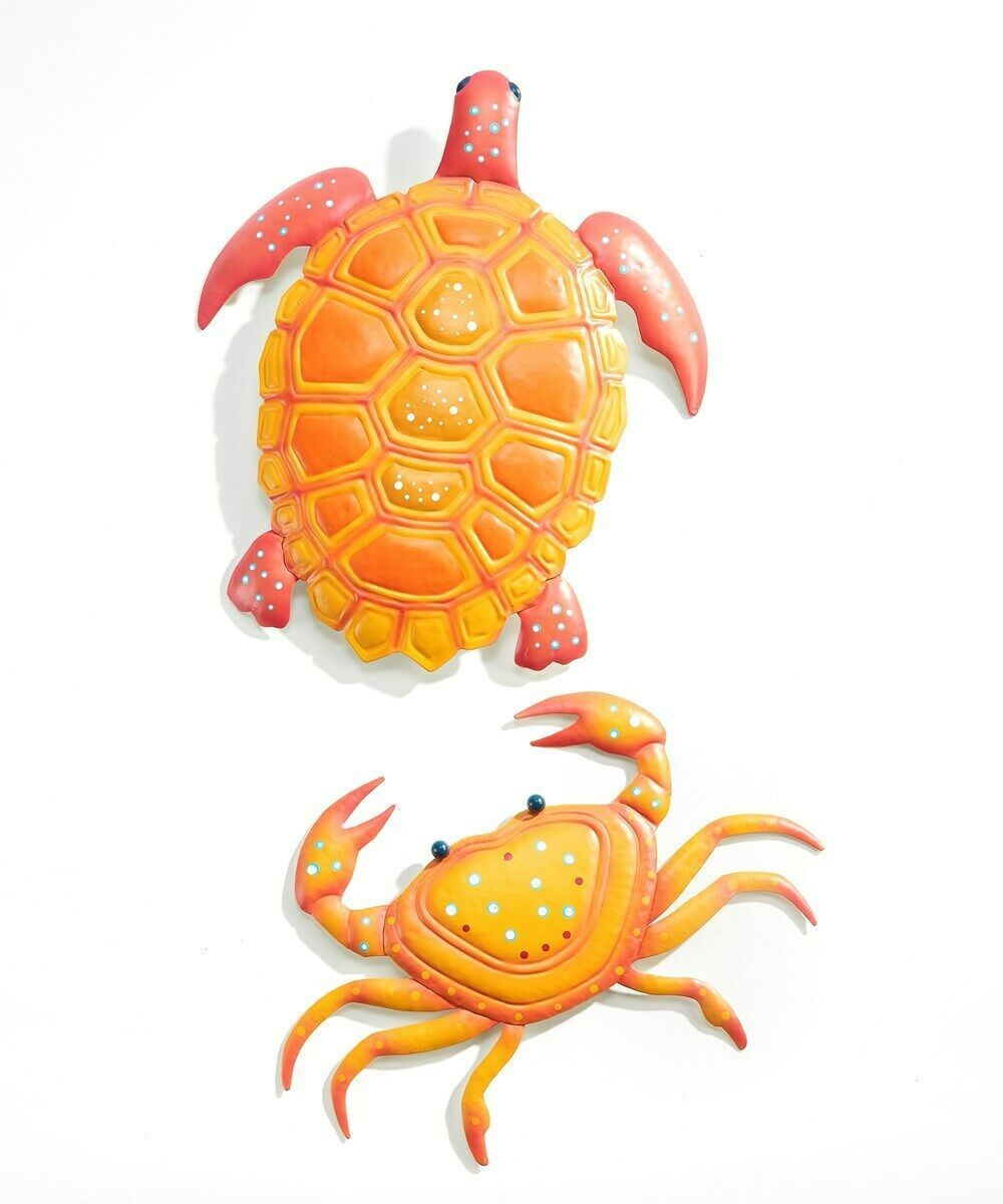 Set of 2 - Calypso Metal Wall Decor Pieces Turtle and Crab Design Orange & Pink