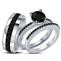 Men's Women's Trio Engagement Ring Set Black Diamond White Gold Over 925 Silver - $147.88