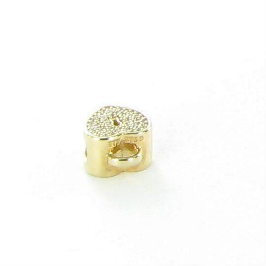 PANDORA Heart Lock Charm Clear CZ 750833CZ 14k Yellow Gold New $400