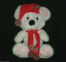 "24"" VINTAGE 1988 CHRISTMAS WHITE MOUSE STUFFED ANIMAL PLUSH COMMONWEALTH... - $55.17"