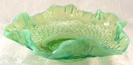 Antique 1900's Green Opalescent Glass Many Loops Bowl by Jefferson Glass... - $39.99