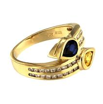 Double Gold Ring with Blue and Yellow Sapphires - $850.00