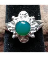 Green Onyx Silver handmade gemstone ring size 6 #002 - $30.00