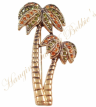 win Palm Tree Pin Brooch Peridot Topaz Crystal Tropical Theme Gold Tone ... - $16.99