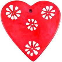 Tabaka Chigware Hand Carved Kisii Soapstone Red & White Heart Stone Ornament image 2