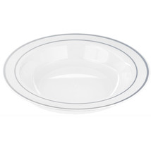 Plastic 12 Oz. White Round Bowl with Silver Band/Case of 120 - $85.49