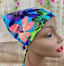 Blue Multicolor Tropical Floral Head Scarf With Ties Hair Covering New Gift - $8.60