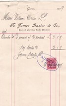 James Baxter & Co. Govan 1906 Coal Merchants Smithy, Etc Stamp Invoice R... - $7.59