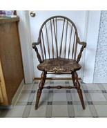 Vintage Wood Rush Seat Windsor Arm Chair Spindle Back Woven - $74.24
