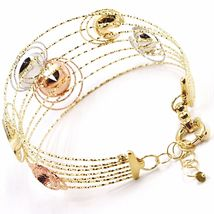 18K YELLOW, WHITE, ROSE GOLD BANGLE BRACELET WORKED MULTI WIRES, FLOWERS DISCS image 4