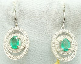 14K Gold Oval 1.48ct Genuine Natural Emerald Earrings w/.60ct Diamonds (... - $1,197.00