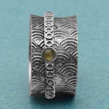 925 Sterling Silver Green Tourmaline Meditation Spinner Fidget Ring Size... - $22.82
