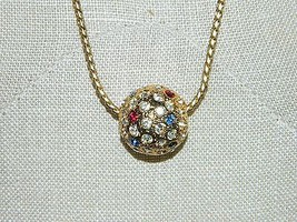 VTG NAPIER Gold Tone Long Necklace with Multi-Color Rhinestone Ball Pendant image 2