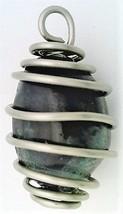 Rainbow Fluorite Nugget Stainless Steel Spiral Wrap Pendant 17 - $10.92