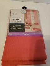 "Mainstays Sheer Curtain 59"" Wide x 63"" Long - 1 Panel - Coral, Rod Pocket NIP - $8.70"