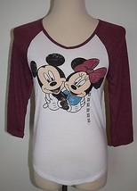 New Disney Mickey Minnie Mouse Top 3/4 Sleeve XS V-Neck Shirt  - $17.72