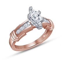 14k Solid Rose Gold Finish 1.25 CT Marquise Cut White Diamond Engagement Ring image 4