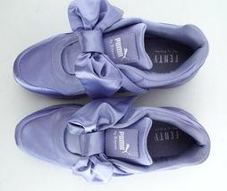 New PUMA RIHANNA Size 9 FENTY Purple Satin Bow Sneakers Shoes image 5