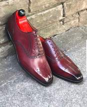 Handmade Men's Burgundy Maroon Brogues Style Dress/Formal Oxford Leather Shoes image 3